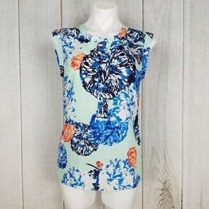 J. Crew Teal Floral Short Sleeve Blouse